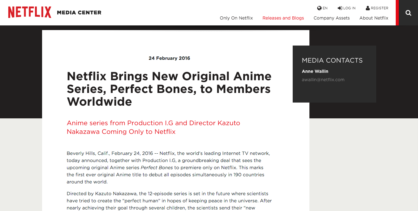Netflix Brings New Original Anime Series, Perfect Bones, to Members Worldwide